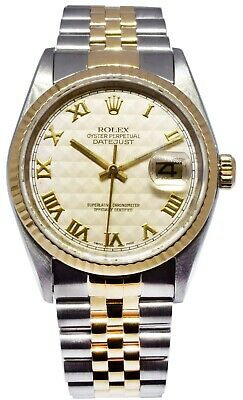 $ CDN7755.23 • Buy Rolex Datejust 18k Yellow Gold/Steel Silver Pyramid Dial Mens 36mm Watch 16233