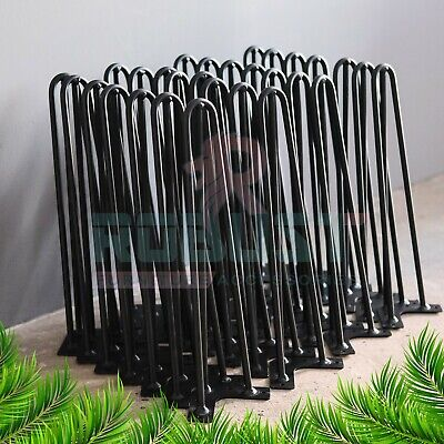 4X HAIRPIN LEGS SET OF - 4 TO 40inch + FREE SCREWS, 2&3 PRONG COLOUR BLACK • 37.89£