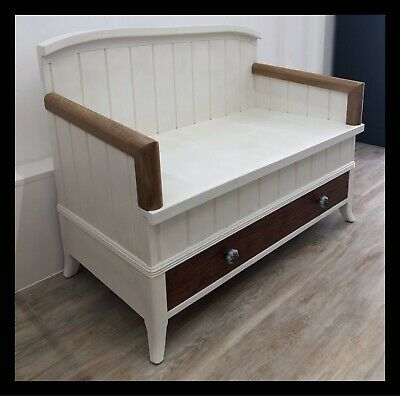 Handmade White Hall Bench With 1 Big Drawer - Upcycled Storage Monks Seat • 300£