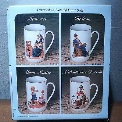 $ CDN15.15 • Buy Vintage 1985 Norman Rockwell Museum Coffee Mugs Cups Set Of 4 White W/ Gold Trim