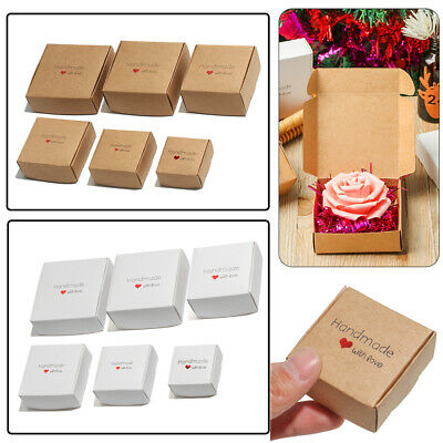 10 PCS Candy Storage Handmade With Love Cardboard Package Square Kraft Paper Box • 5.97£