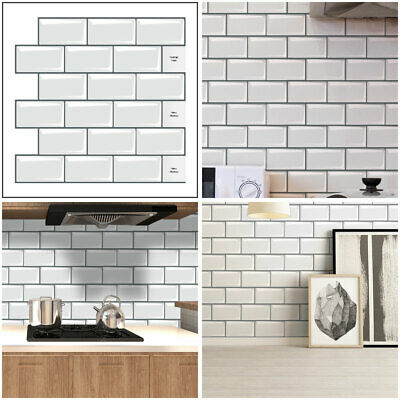3D Self-Adhesive Kitchen Wall Tiles Bathroom Mosaic Brick Stickers Peel & Stick • 4.98£