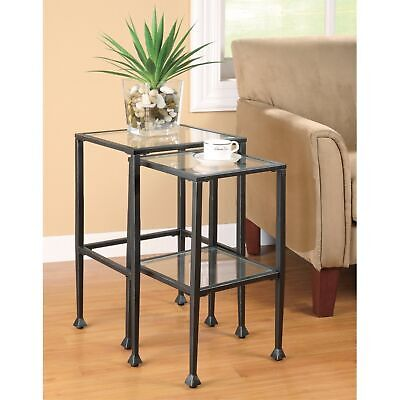 Benzara Set Of 2 Metal Nesting Tables With Glass Top, Black • 262.67£