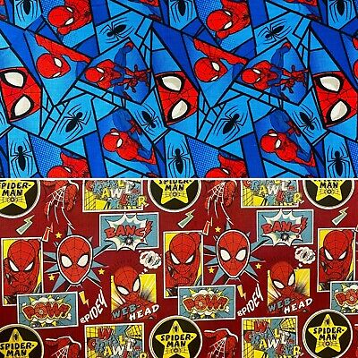Licensed MARVEL Spider-Man 100% Cotton Fabric - 2 Designs - Superhero Comics  • 6.50£