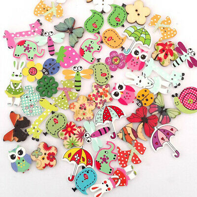 £2.81 • Buy 50Pcs Mixed Animals 2Hole Wooden Buttons For Kids Sewing Scrapbooking DIY Crafts