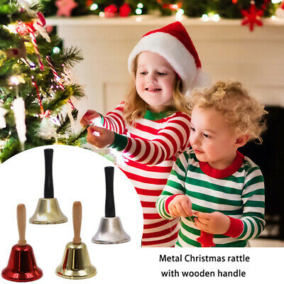 3PC Metal Christmas Hand Bell Xmas New Year Santa Party Celebrate Rattle Bell UK • 8£