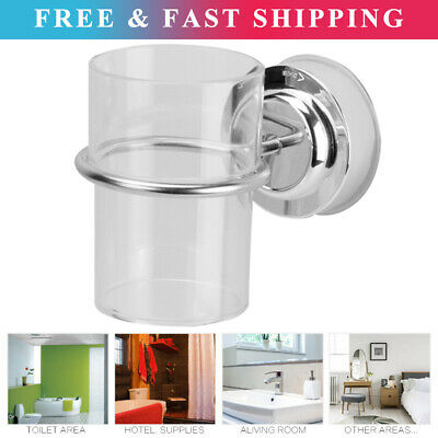 Chrome Bathroom Toothbrush Holder Tumbler Suction Cup Wall Mounted JS • 9.94£