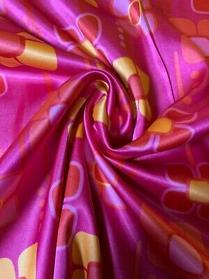 £7.99 • Buy Charmeuse Satin Soft Silky Spring Floral Print Dress Craft Fabric 58  By Meter