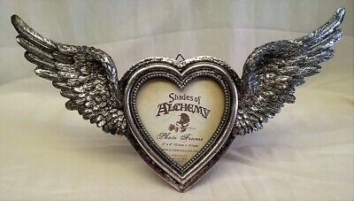 Alchemy Gothic Winged Heart Design Photo Picture Frame - Antique Silver Effect • 23.99£