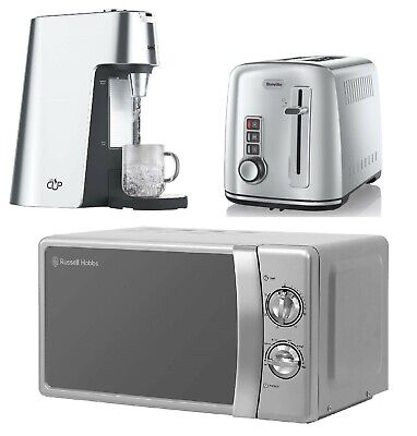 Silver Stainless Steel Set Breville Toaster & Hot Water Dispenser With Microwave • 199.99£