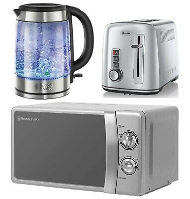 Glass Electric Kettle & Microwave Russell Hobbs 2 Slice Toaster Breville Silver • 179.99£