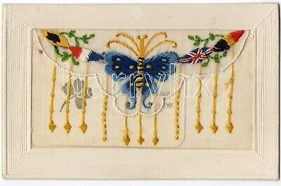 WW1 Embroided Silk Postcard - Butterfly With Insert • 8£