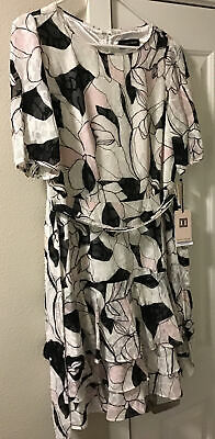$ CDN31 • Buy Ivanka Trump Women's Georgette Printed Textured Belted Ruffle Hem Dress, Size 8,