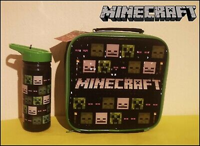Zak - Minecraft Creeper & Other Characters Lunch Bag + Water Bottle - BRAND NEW • 19.79£