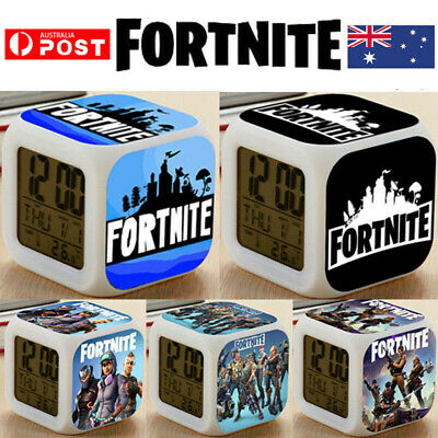 AU16 • Buy FORTNITE GAME Color Changing Night Light Alarm Clock Toy Game Gift For Boys Kid