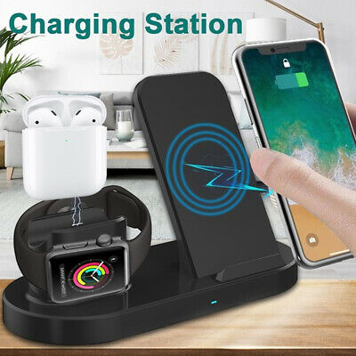 AU32.59 • Buy 3in1 Qi Wireless Charger Fast Charging Dock Stand For Airpods Apple Watch IPhone