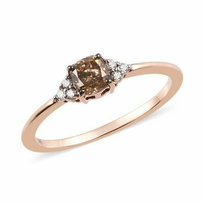 9K Rose Gold Champagne And White Diamond Ring 0.50 Ct. • 379.99£