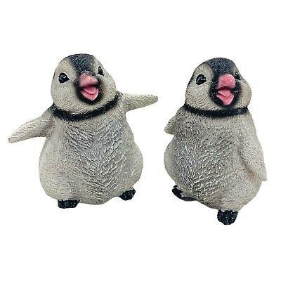 £9.99 • Buy Pair Of Baby Penguin Garden Or Home Animal Ornaments