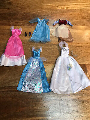 Disney Cinderella Barbie Bundle Of Outfits Dresses Shoes Wedding • 7£