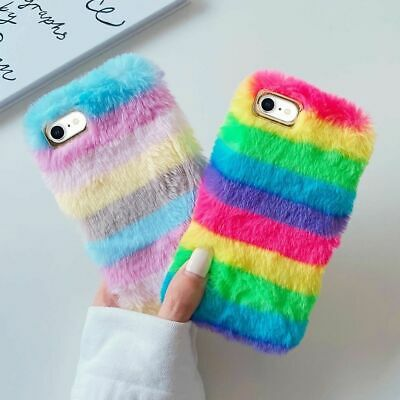 Luxury Warm Fluffy Phone Case Faux Fur Rainbow Soft Cover For IPhone 12 11 XS XR • 6.51£