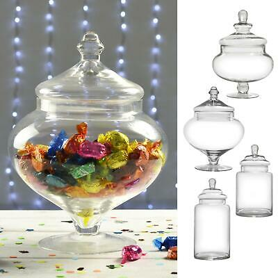 £8.99 • Buy SECONDS-Clear Glass Sweet Jar Large Lidded Vintage Candy Storage Wedding Party