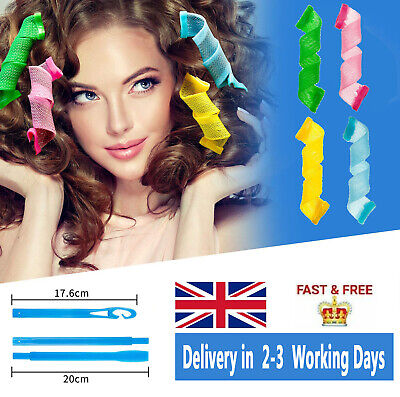 18PCS Magic Long Hair Curlers Curl Formers Spiral Rollers Styling Tool Hook UK • 7.79£