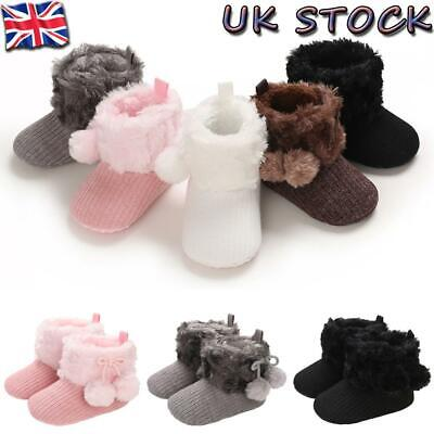 Newborn Baby Girls Boys Winter Fur Lined Knitted Snow Boots Casual Outdoor Shoes • 3.49£