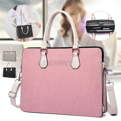 UK Women Leather Briefcase Shoulder Bag 15.6'' Laptop Tote Lady Travel  • 21.44£