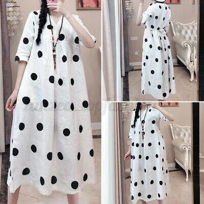 Women Short Sleeve Polka Dot Bohemia Dresses Casual Plain Dress Summer Sundress • 11.97£