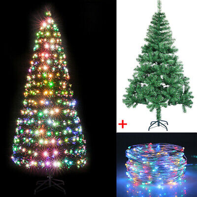 4/5/6ft Christmas Tree Artificial Deluxe 200 LED Lights Metal Stand XMAS DECOR • 19.19£