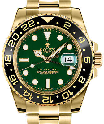 $ CDN48877.51 • Buy Rolex GMT-Master II 18k Yellow Gold & Ceramic Green Dial Watch & Box 116718 D