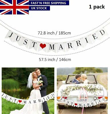 Just Married Flag Wedding Banner Bunting Banners Outdoor Home Garden Decor UK • 4.89£