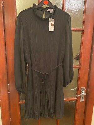 Primark Black Pleated High Neck Tie Detail Dress For Smart Work Look Size 16 • 5£