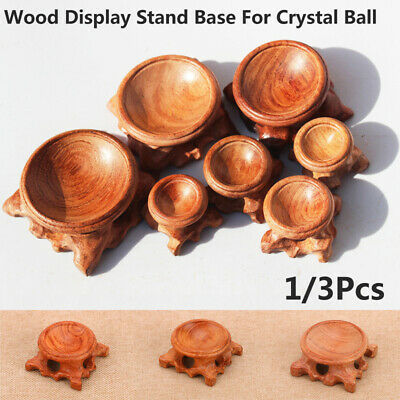 £7.55 • Buy 3PCS Natural Wood Display Stand Base Holder For Crystal Ball Sphere Globe Stone