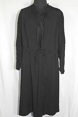 Plus Size French Vintage 1920's-1930's Black Rayon Evening Coat Sheath Sz 16-18 • 161.47£
