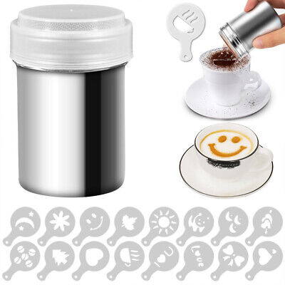 Duster Chocolate Sifter Stainless Steel Sugar Powder Shakers Coffee Stencils UK • 6.39£