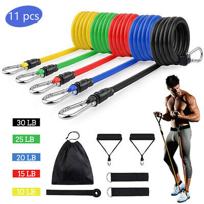 $ CDN17.08 • Buy Resistance Bands Workout Exercise Yoga 11 Piece Set Crossfit Fitness Tubes