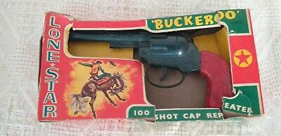 Vintage Lonestar Buckaroo 100 Shot Cap Repeater Diecadt Toy Gun, Boxed • 20£