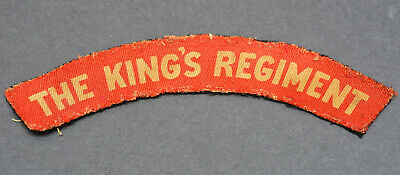 WW2 Era Printed Patch ~ The King's (Liverpool) Regiment ~ Cloth Shoulder Title  • 9.99£