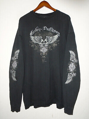 $ CDN13.72 • Buy HARLEY DAVIDSON Long Sleeve T-Shirt PEORIA AZ Vtg BLACK SKULL Made In USA 3XL 3X