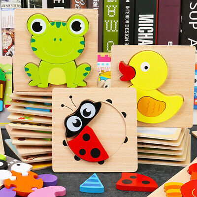 £5.69 • Buy Wooden Puzzles Toy For 1-3 Year Olds Toddler Animal Jigsaw Baby Educational Toys