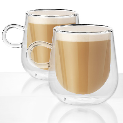 Set Of 2 Double Walled Insulated 80 150 250ML Mugs Heat Resistant Coffee Glasses • 7.99£