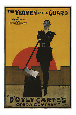 The Yeomen Of The GUARD Vintage Poster Dudley Hardy UK 24x36 DARK HISTORIC • 4.51£