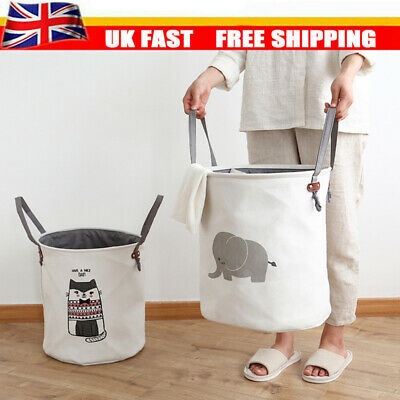Dirty Wash Clothes Bucket Baby Kid Toy Canvas Laundry Basket Storage Bag Box UK • 5.89£