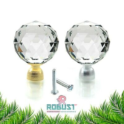Clear Crystal Diamond Glass Door Knobs Cupboard Drawer Furniture Handle Cabinet • 1.89£