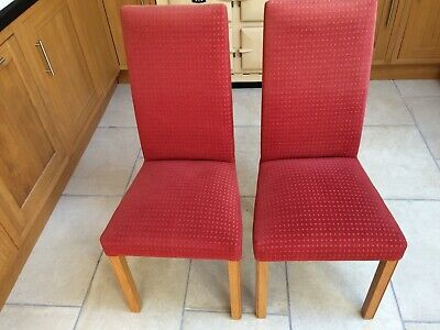 Two Marks & Spencer M&S Lichfield Light Oak Red Upholstered Dining Chairs • 25£