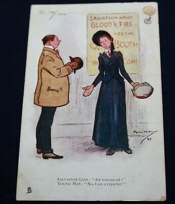 Tuck Oilette Phil May Salvation Lass Are You Saved?  Postcard Used Dated 1911 • 1.99£