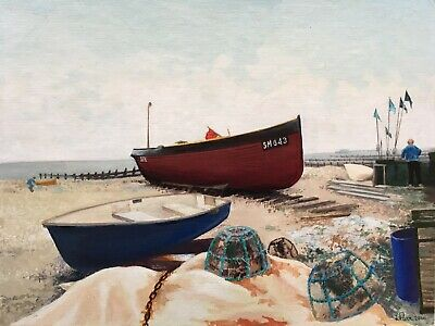 Naive British Oil Painting On Board Fishing Lobster Pots Boats Sea Impressionism • 45£