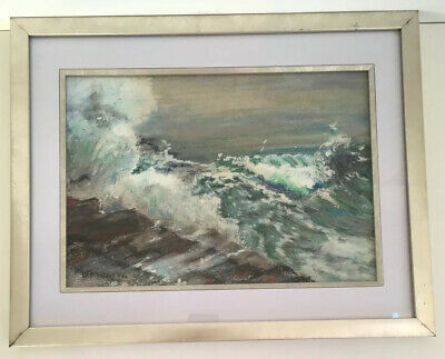 Impressionist Moody Stormy Sea Oil Painting Framed • 18£