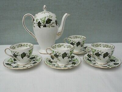 Foley Bone China Everglades Coffee Pot + 4 Cups & Saucers • 35£